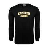 Black Long Sleeve TShirt-Cameron Arched Aggies