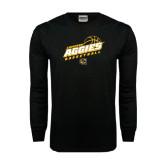 Black Long Sleeve TShirt-Aggies Basketball Slanted
