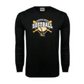 Black Long Sleeve TShirt-Softball w/ Bats and Plate
