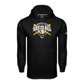 Under Armour Black Performance Sweats Team Hoodie-Softball w/ Bats and Plate