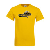 Gold T Shirt-Cameron Aggies Pick and Mountain