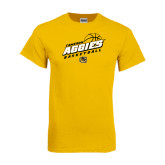 Gold T Shirt-Aggies Basketball Slanted