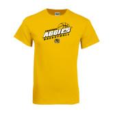 Gold T Shirt-Aggies Basketball Slanted