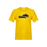 Youth Gold T Shirt-Cameron Aggies Pick and Mountain