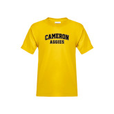 Youth Gold T Shirt-Cameron Arched Aggies