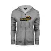 ENZA Ladies Grey Fleece Full Zip Hoodie-Cameron Aggies Pick and Mountain