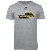 Adidas Sport Grey Logo T Shirt-Cameron Aggies Pick and Mountain