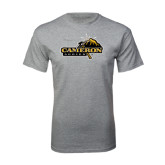 Grey T Shirt-Cameron Aggies Pick and Mountain