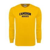 Gold Long Sleeve T Shirt-Cameron Arched Aggies