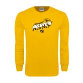 Gold Long Sleeve T Shirt-Aggies Basketball Slanted