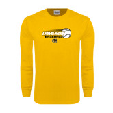 Gold Long Sleeve T Shirt-Cameron Baseball w/ Flying Ball