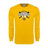 Gold Long Sleeve T Shirt-Softball w/ Bats and Plate