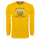 Gold Long Sleeve T Shirt-2016 Lone Star Conference Champions Mens Golf