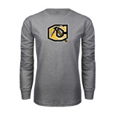 Grey Long Sleeve T Shirt-Official Logo Distressed