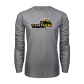 Grey Long Sleeve T Shirt-Cameron Aggies Pick and Mountain