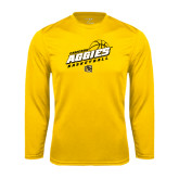 Syntrel Performance Gold Longsleeve Shirt-Aggies Basketball Slanted