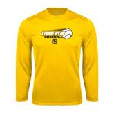 Syntrel Performance Gold Longsleeve Shirt-Cameron Baseball w/ Flying Ball
