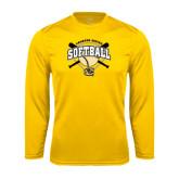 Syntrel Performance Gold Longsleeve Shirt-Softball w/ Bats and Plate
