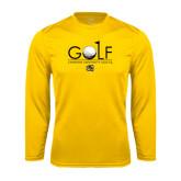 Syntrel Performance Gold Longsleeve Shirt-Golf w/ Ball and Flag