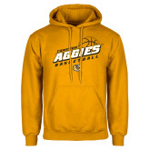 Gold Fleece Hoodie-Aggies Basketball Slanted