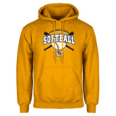 Gold Fleece Hoodie-Softball w/ Bats and Plate
