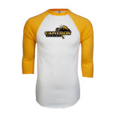 White/Gold Raglan Baseball T-Shirt-Cameron Aggies Pick and Mountain