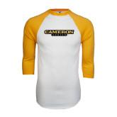 White/Gold Raglan Baseball T-Shirt-Cameron Aggies Flat