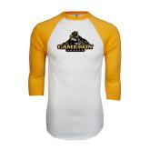 White/Gold Raglan Baseball T-Shirt-Cameron Aggies Miner