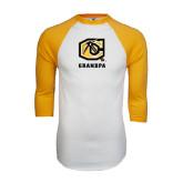 White/Gold Raglan Baseball T-Shirt-Grandpa
