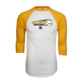 White/Gold Raglan Baseball T-Shirt-Cameron Baseball w/ Flying Ball