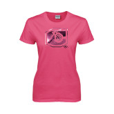 Ladies Fuchsia T Shirt-Official Logo Foil