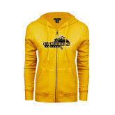 ENZA Ladies Gold Fleece Full Zip Hoodie-Cameron Aggies Pick and Mountain