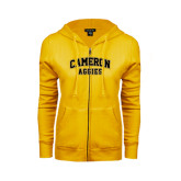 ENZA Ladies Gold Fleece Full Zip Hoodie-Cameron Arched Aggies