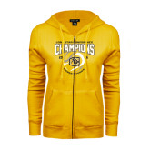 ENZA Ladies Gold Fleece Full Zip Hoodie-2016 Lone Star Conference Champions Womens Tennis