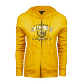 ENZA Ladies Gold Fleece Full Zip Hoodie-2016 Lone Star Conference Champions Mens Golf