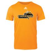 Adidas Gold Logo T Shirt-Cameron Aggies Pick and Mountain