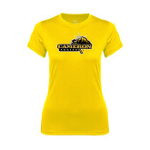 Ladies Syntrel Performance Gold Tee-Cameron Aggies Pick and Mountain
