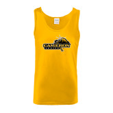 Gold Tank Top-Cameron Aggies Pick and Mountain