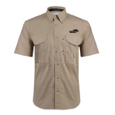 Khaki Short Sleeve Performance Fishing Shirt-Cameron Aggies Pick and Mountain