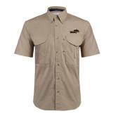 Khaki Short Sleeve Performance Fishing Shirt-Cameron Aggies Pick and Mountain