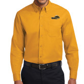 Gold Twill Button Down Long Sleeve-Cameron Aggies Pick and Mountain
