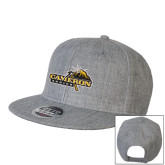 Heather Grey Wool Blend Flat Bill Snapback Hat-Cameron Aggies Pick and Mountain