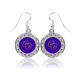 Crystal Studded Round Pendant Silver Dangle Earrings-CC