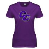 Ladies Purple T Shirt-CC Distressed