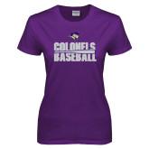 Ladies Purple T Shirt-Baseball Stacked