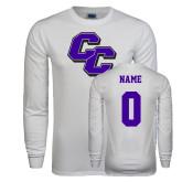 White Long Sleeve T Shirt-CC, Custom Tee w/ Name and #