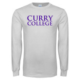 White Long Sleeve T Shirt-Curry College Stacked