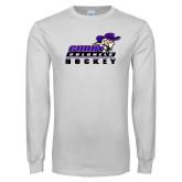 White Long Sleeve T Shirt-Hockey