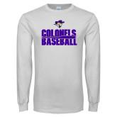 White Long Sleeve T Shirt-Baseball Stacked