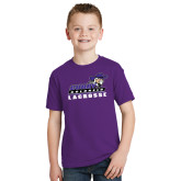 Youth Purple T Shirt-Lacrosse